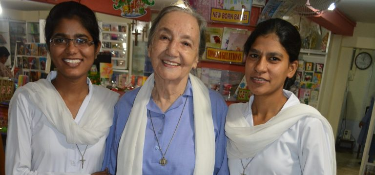 Daughters of St Paul led by their superior Sr Daniela, 83, at their bookshop in Saddar district, central Karachi.