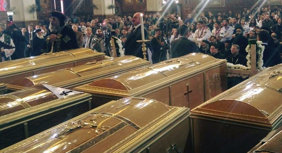 Coptic Orthodox Pope Tawadros II leading the funeral for victims of Coptic Cathedral bombing on the 11 December 2016 © Aid to the Church in Need
