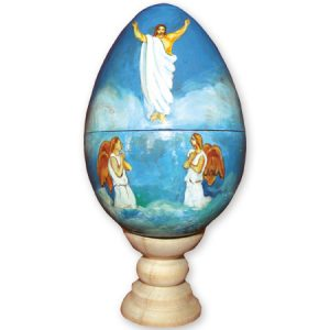 Resurrection with Angels - Armenian Hand-painted Egg and Stand