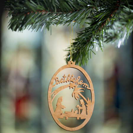 Olive Wood Nativity Tree Decoration