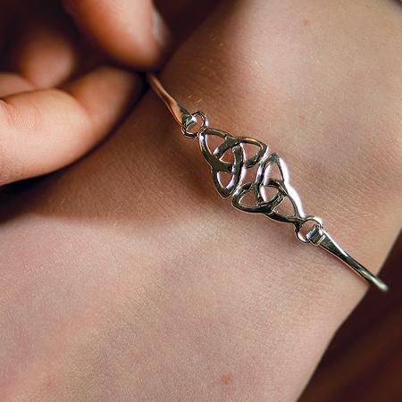 Silver Double Trinity Knot Bangle