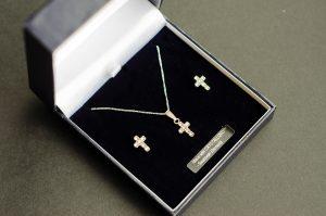 Swarovski Cross & Earring Set