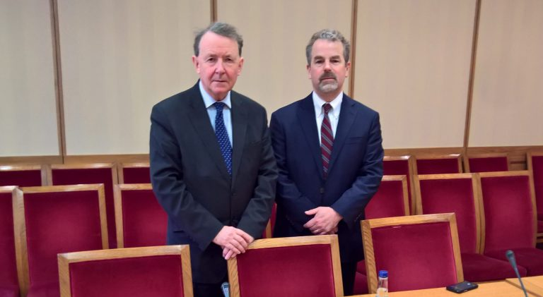 Lord Alton with Stephen Rasche, following the meeting in parliament. (© Aid to the Church in Need)