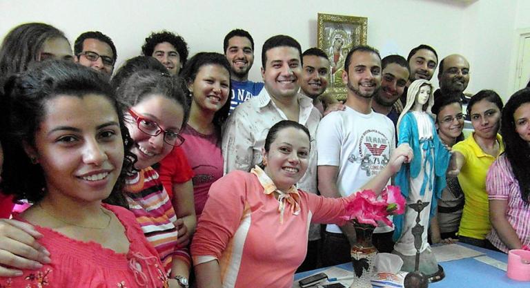 Catholic youth members of the Legion of Mary Holy Family Coptic Catholic Church, Zaytoun, Cairo
