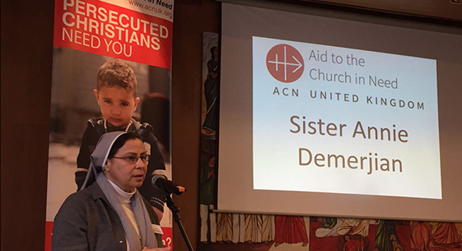 Sr Annie Demerjian speaking to the charity's Area Secretaries at ACN's Area Secretary Conference 2017 (© Aid to the Church in Need)