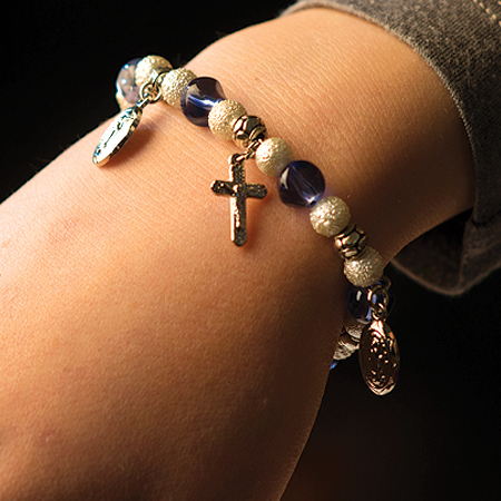 Blue Glass Bracelet with Crucifixes & Medals