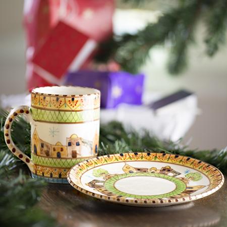 Hand-painted Bethlehem Cup & Saucer Set