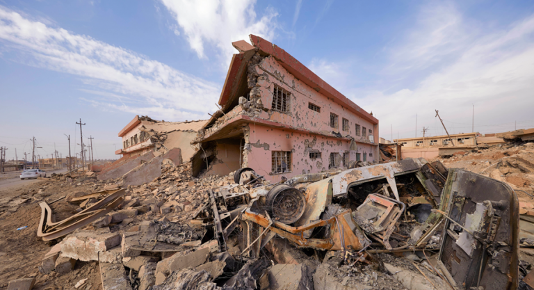 A building destroyed in Qaraqosh, which was the last Christian majority town in Iraq (© Aid to the Church in Need/Jaco Klamer)