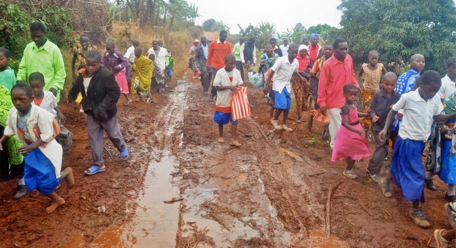 Muddy roads in the Namswea parish, Mbinga Diocese, Tanzania
