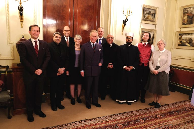 John Pontifex, Editor-in-Chief, ACN Religious Freedom in the World 2016 Report; Fr Ziad Hilal, ACN Projects Co-ordinator for Syria; Baron Johannes Heereman, Executive President, ACN (International); Dr Sarah Bernstein, Director-General of the Jerusalem Centre for Jewish-Christian Relations, Israel; HRH The Prince of Wales; Neville Kyrke-Smith, National Director, ACN (UK); Jacques Kallassi, Lebanese Christian; Shaykh Dr Mohammad Umar Al-Qadri, Chair of the Irish Muslim Peace and Integration Council and Head Imam of the Islamic Centre of Ireland; Dr John Newton, ACN (UK) Production Editor of ACN Religious Freedom in the World 2016 Report and ACN (UK) Senior Press Officer and Sr Helen Haigh, RJM Provincial of Europe of the Religious of Jesus and Mary at Clarence House ©ClarenceHouse