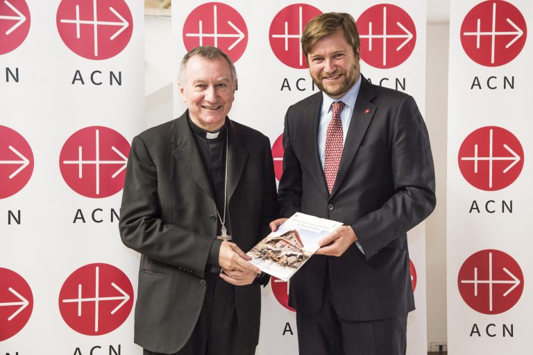 Vatican Secretary of State Cardinal Pietro Parolin with ACN's international general secretary Philipp Ozores