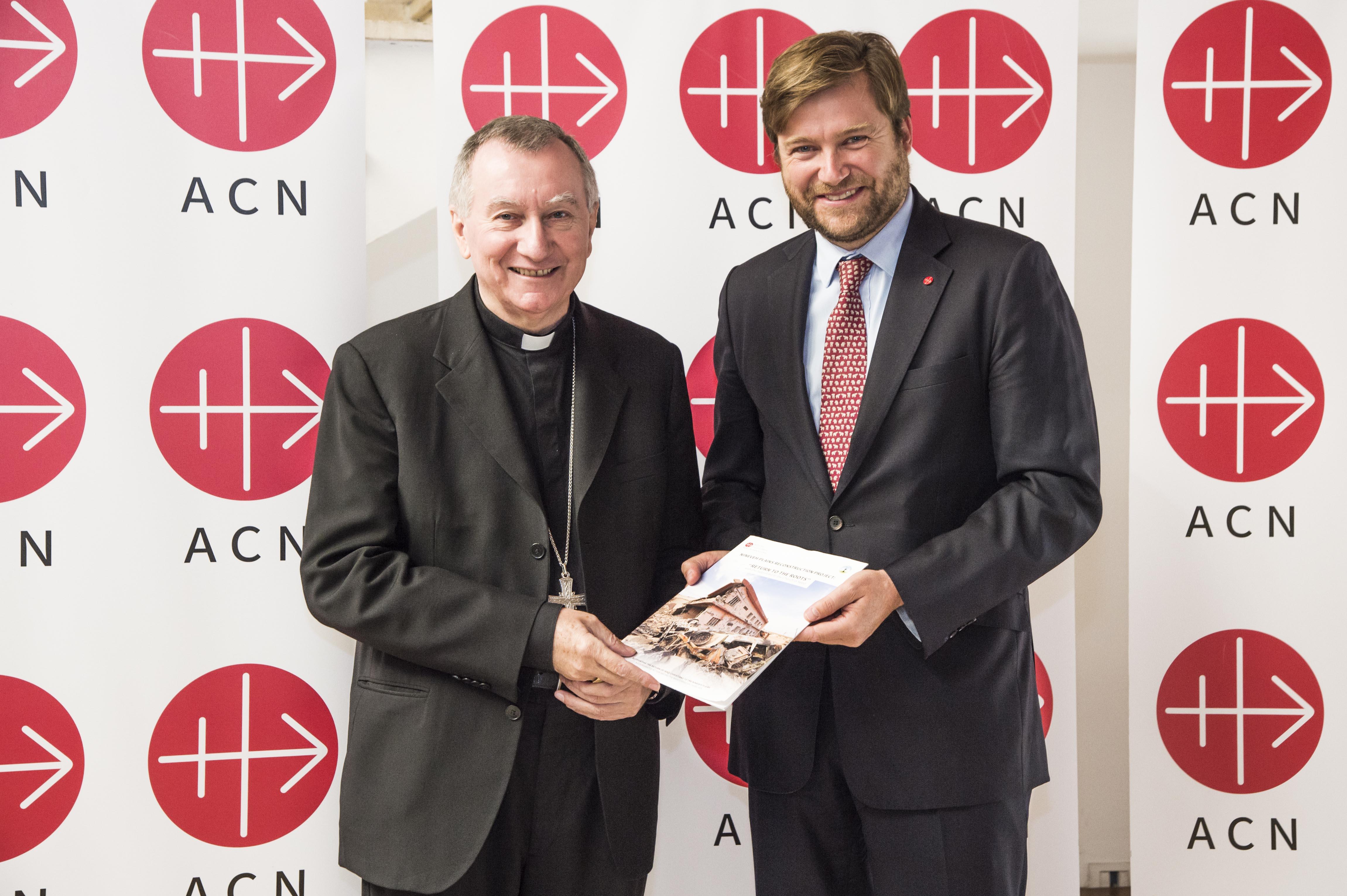 Vatican Secretary of State Cardinal Pietro Parolin with ACN's international general secretary Philipp Ozores