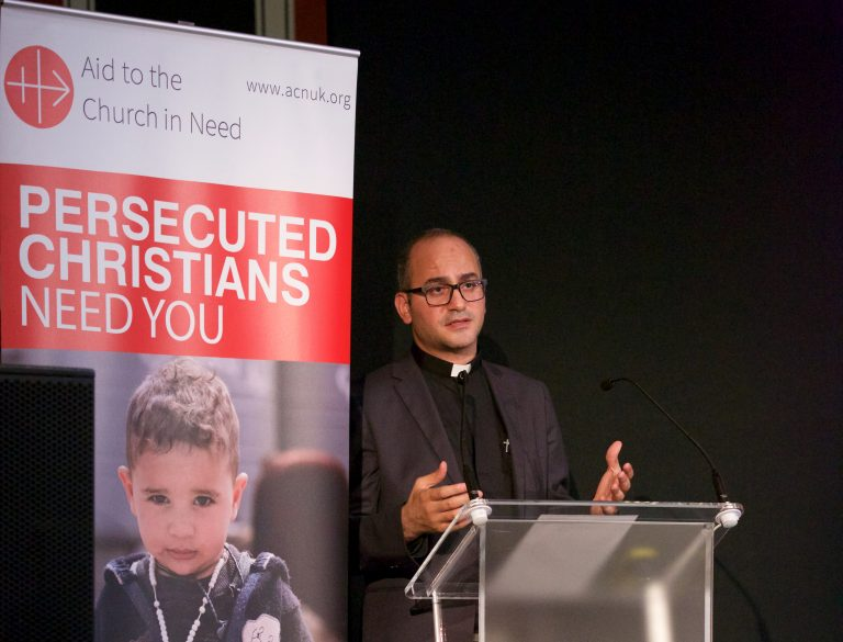 Father Salar Kajo, pictured speaking at ACN's Annual Event on the 14th October 2017 (© Weenson Oo/picture-u.net)