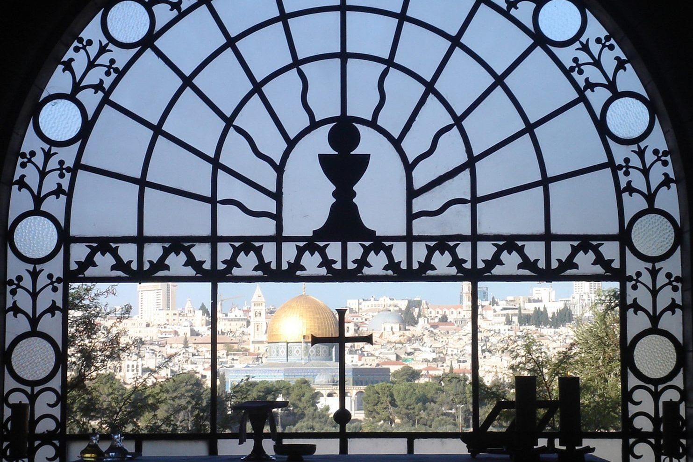 Chapel of Dominus Flevit - View through window over altar to Jerusalem