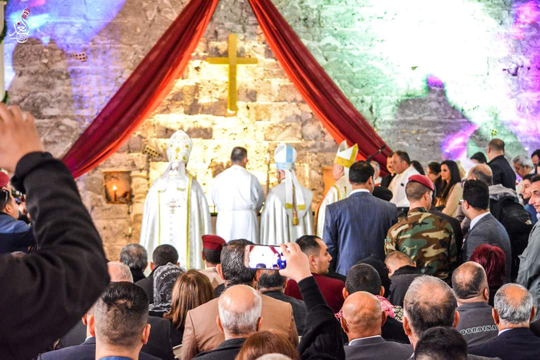 His Beatitude Raphael Sako and Chaldean Bishop Shlemon Warduni celebrating the first Mass in Mosul since 2014, with Syriac Catholic Archbishop Mouche and Syriac Orthodox Archbishop Nicodemus Dauod Matti Sharaf participating.