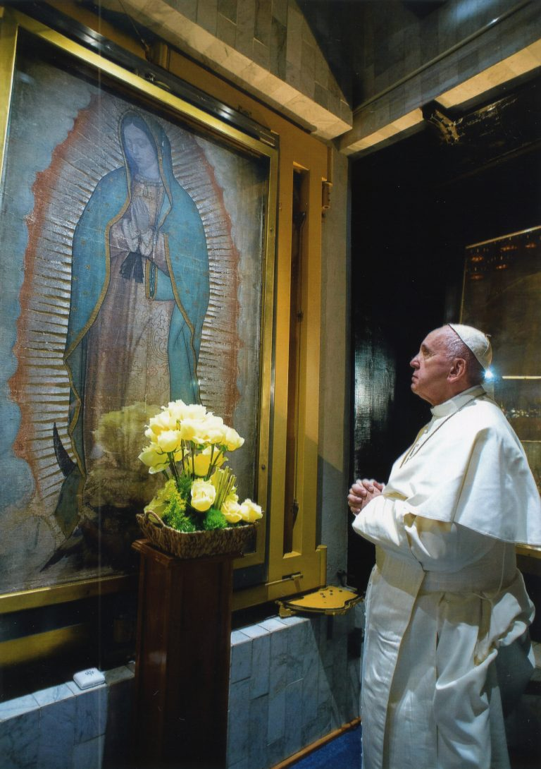 Pope Francis showing his devotion to the Patroness of the Unborn – Our Lady of Guadalupe