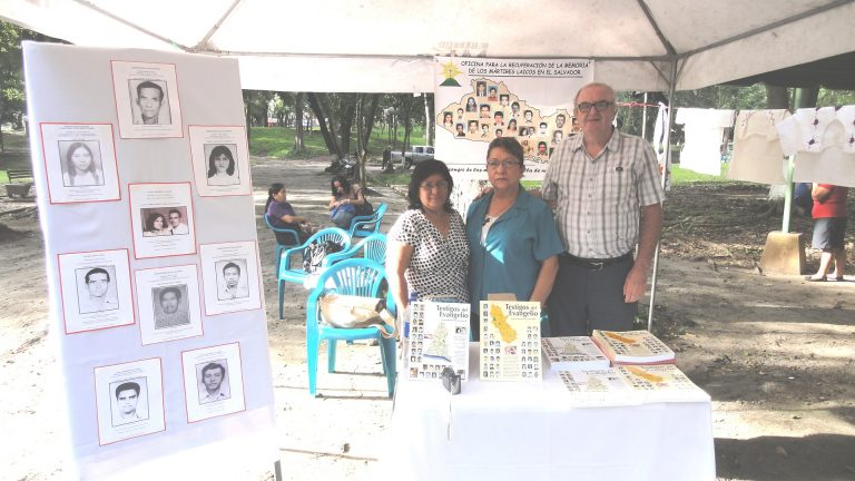 Ana Leticia Henriquez, researcher (left), Martha Figueroa, editor - both employees of the Office of Martyrs and Fr Tomás Ciaran Ó Nuanain
