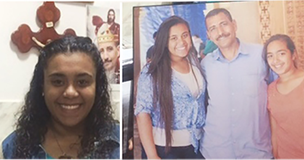 Marian Nabil Habib (far right). Photograph on the right: Marian (right), her father, Nabil Habib, who was among 29 people killed by extremists in Egypt in December 2016 and her sister, Youstina. (© Aid to the Church in Need)