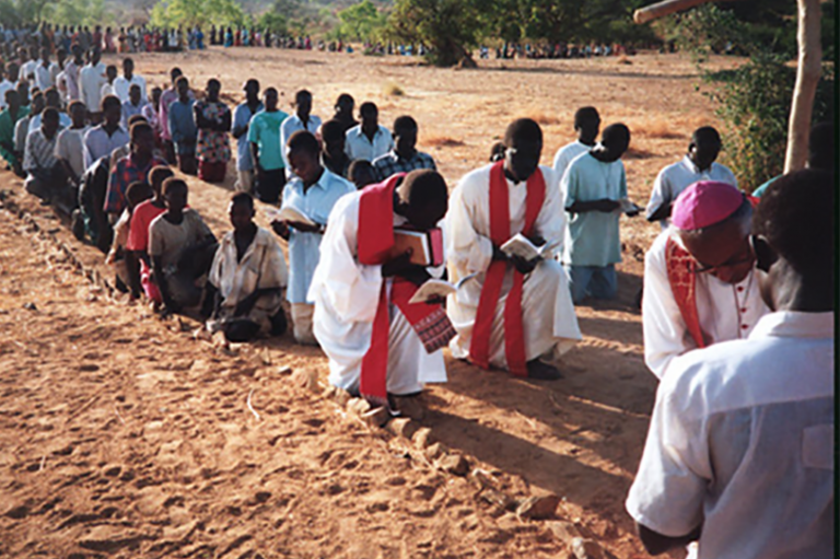 The Way of the Cross prayed in the Nuba Mountains before many Christians were forced to leave their homes in search of jobs and decent housing for their families. Sudan, 2009