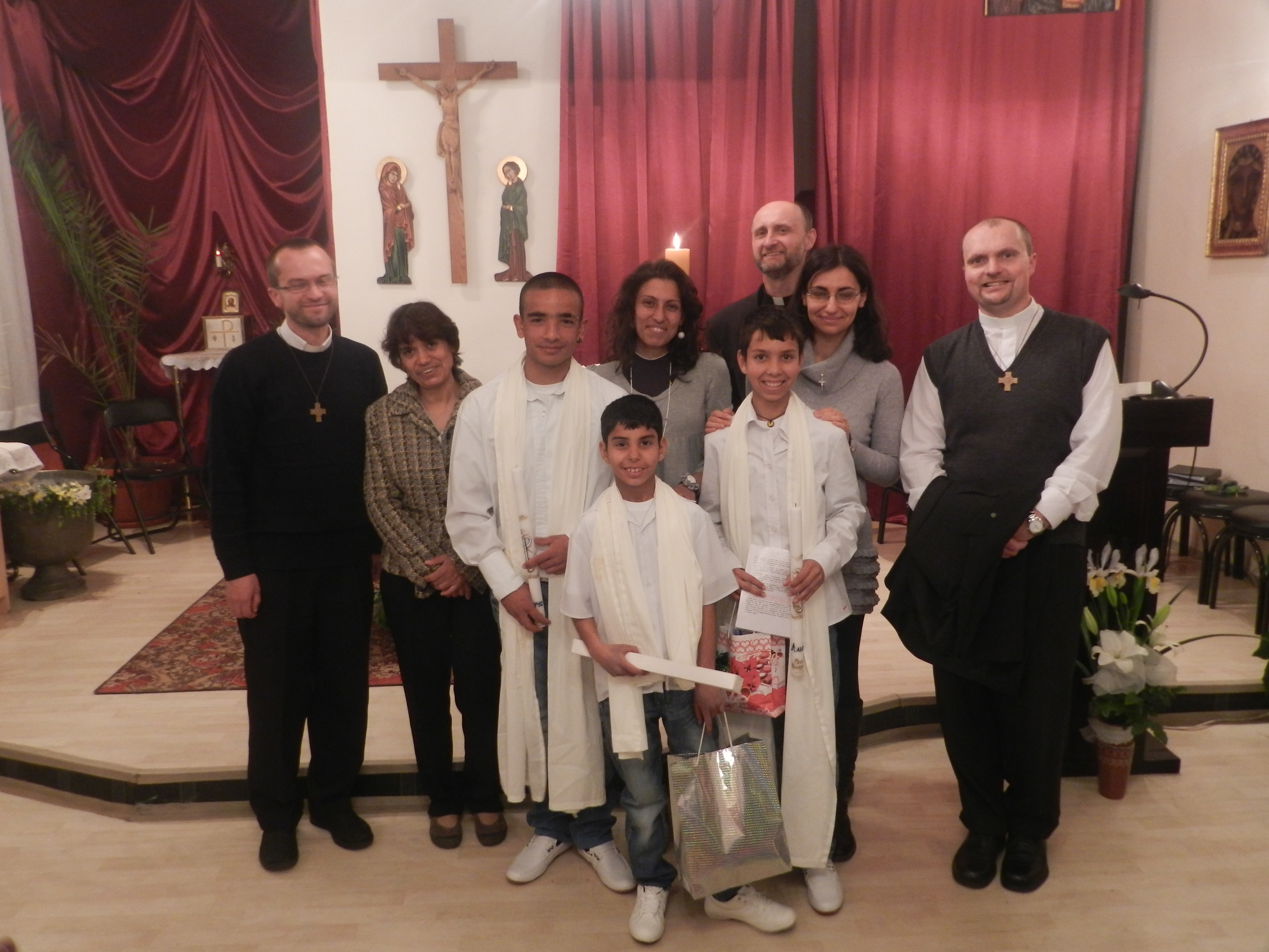 Young candidates for baptism from the Roma community in Stara Zagora, Bulgaria with Father Martin Jilek (right).