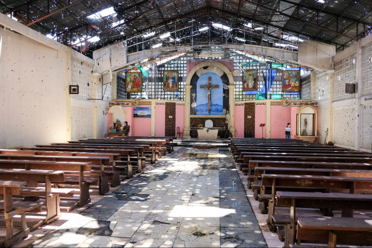 Inside destroyed St. Mary's Cathedral (© Aid to the Church in Need)