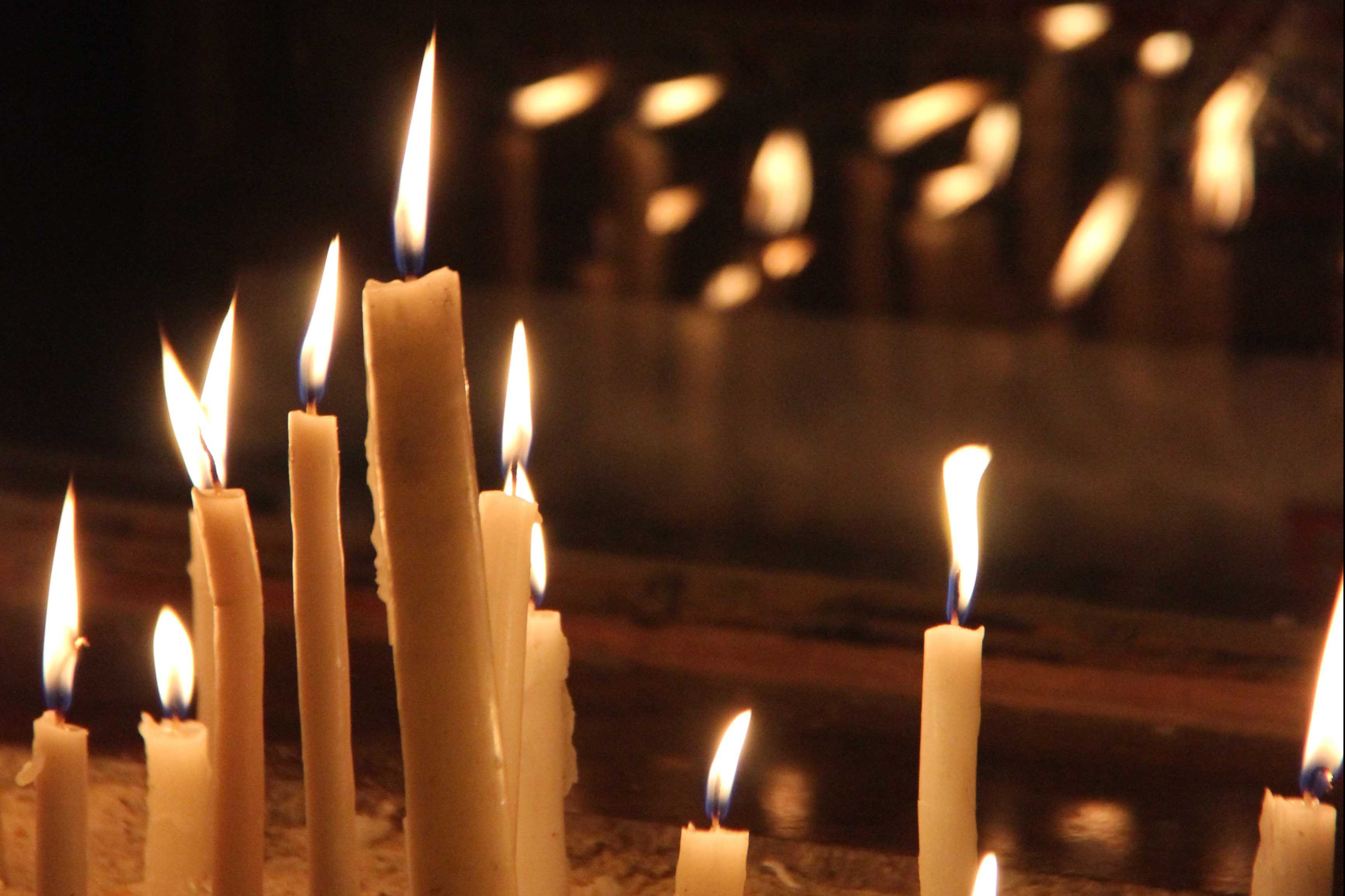 Candles in a coptic orthodox Church in Cairo