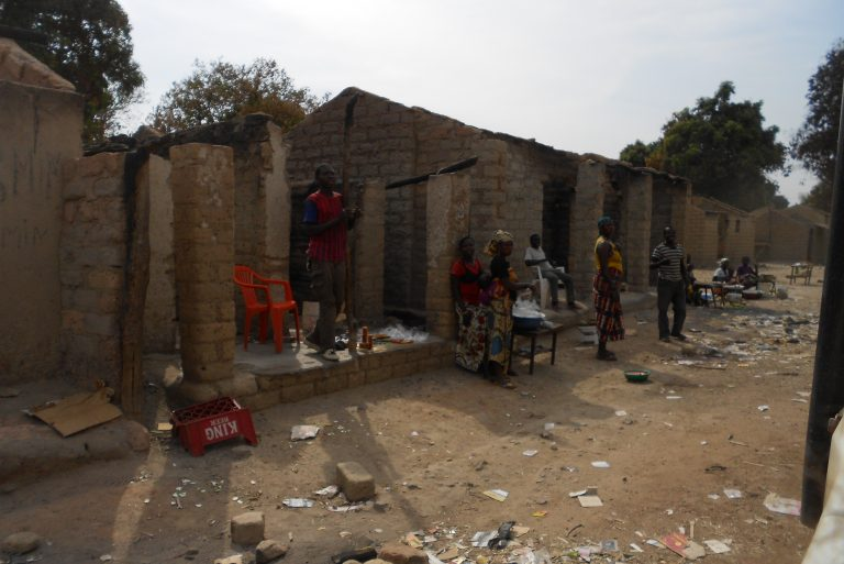 Houses in Ngaundaye destroyed after attacks by Seleka rebels in January 2014.