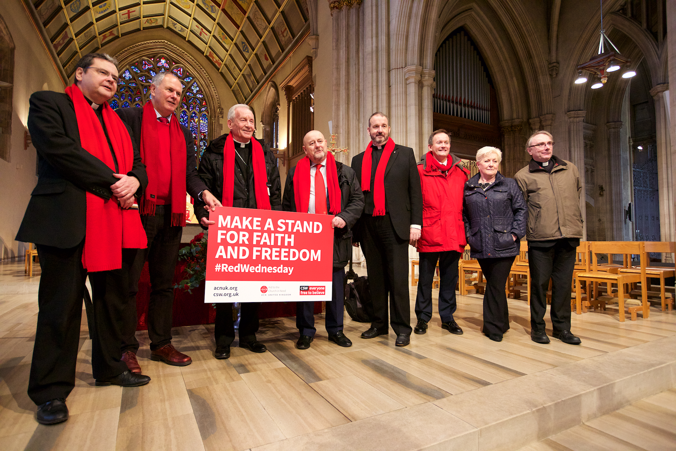 Peter Smith, Archbishop of Southwark; Canon Richard Hearn meet the #RedWednesday team. St George's Cathedral, London.