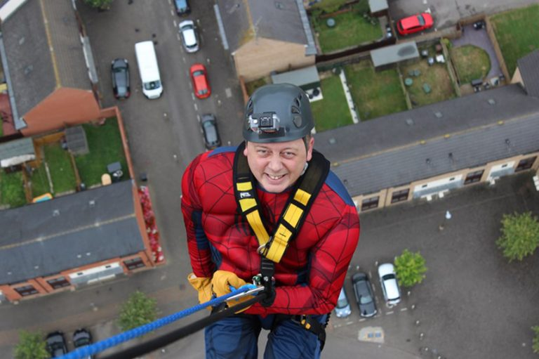 Father Robbie abseiled the National Lift Tower to help our suffering brothers and sisters in Syria! Father Robbie raised over £5,000 abseiling the 418 foot tower dressed as Spider-man in support of ACN.