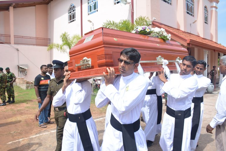 Funeral service for victims of the Easter Sunday bombing at St Sebastian's Church in Katuwapitiya, Negombo (Sri Lanka) on 23rd April 2019. Image: Roshan Pradeep & T Sunil.