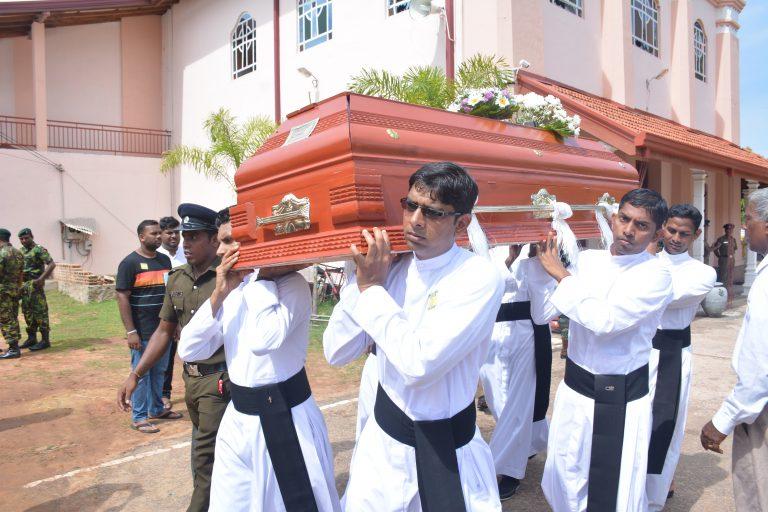 Funeral service for victims of the Easter Sunday bombing at St Sebastian's Church in Katuwapitiya, Negombo (Sri Lanka) on 23rd April 2019. Image: Roshan Pradeep & T Sunil.