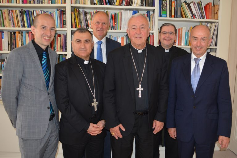 Picture shows (left to right): Liam Allmark, Head of Public Affairs, Catholic Bishops' Conference of England & Wales; Chaldean Catholic Archbishop Bashar Warda of Erbil, Iraq; Neville Kyrke-Smith, National Director, Aid to the Church in Need (UK); Cardinal Vincent Nichols, Archbishop of Westminster; Father Dominic Robinson SJ, Ecclesiastical Assistant, Aid to the Church in Need (UK); John Neill, Assistant to Archbishop Warda