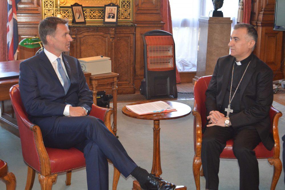 Archbishop Warda meeting Foreign Secretary Jeremy Hunt