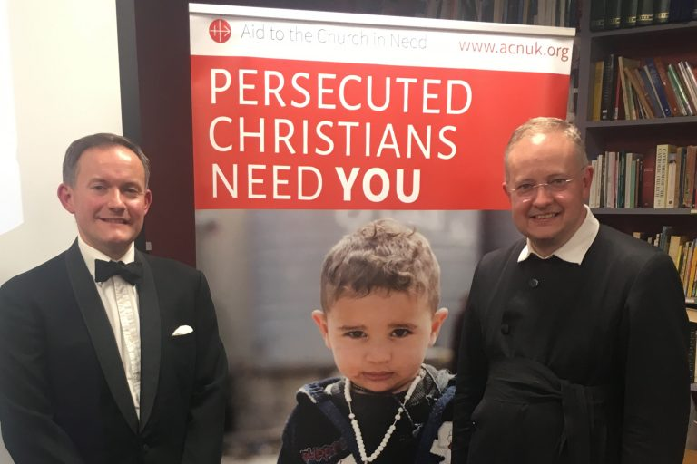 ACN UK Head of Press & Information John Pontifex and the Very Rev Dr Sebastian Jones, Moderator of the Cardiff Oratory in Formation (© Aid to the Church in Need)