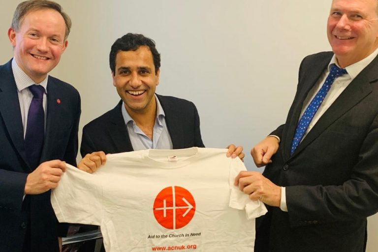 Images: (L-R) John Pontifex, Head of Press & Information, Aid to the Church in Need (UK); MP for Gillingham and Rainham Rehman Chishti, Prime Minister's Special Envoy for Freedom of Religion or Belief; Neville Kyrke-Smith, National Director, Aid to the Church in Need (UK) (© Aid to the Church in Need)