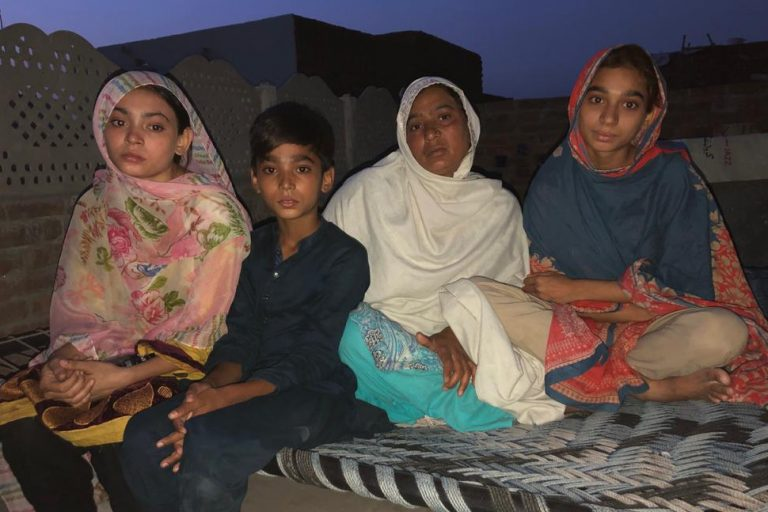 The mother and siblings of the kidnapped girl, Maira Shahbaz.