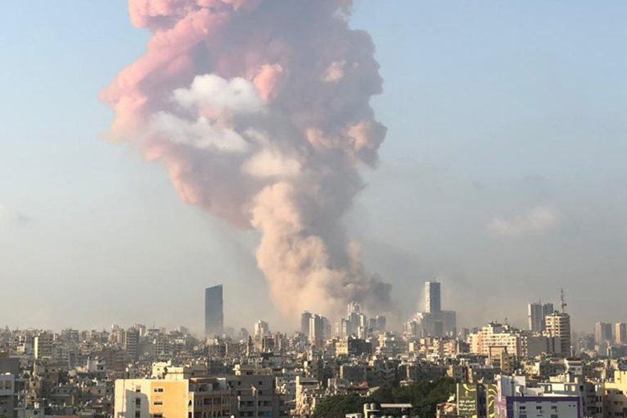 With picture of Tuesday's explosion in Beirut (courtesy of Father Samer Nassif)
