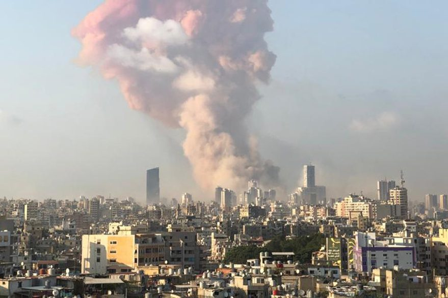 With picture of Beirut explosion (Credit: Father Samer Nassif)