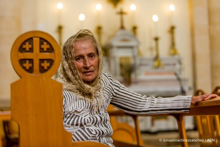 With image of Syrian Christian (Credit: Ismael Martinez Sanchez/ACN)