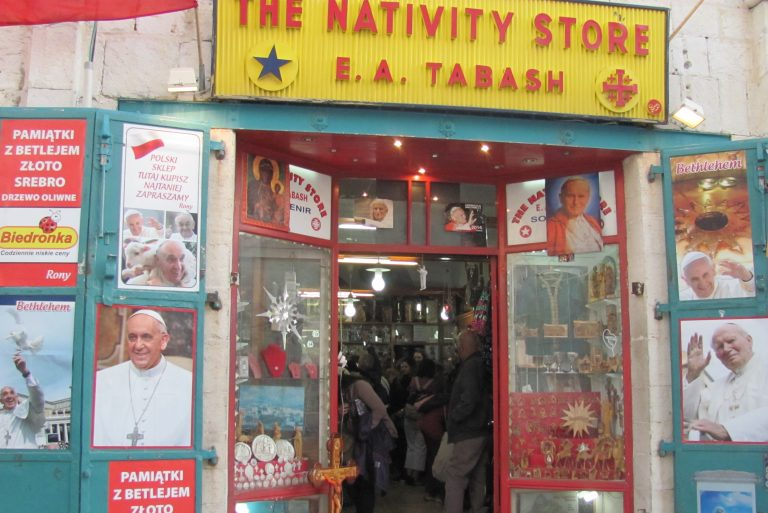 The Tabash family's Nativity Store in Manger Square, Bethlehem