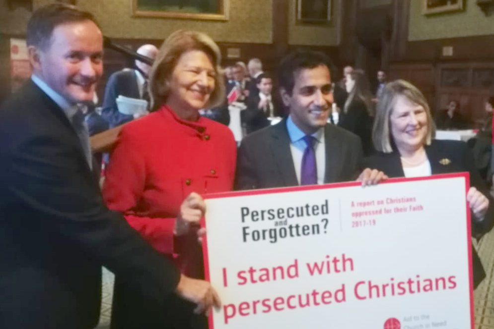 With file picture of Fiona Bruce (right), appointed Prime Minister's Special Envoy for Freedom of Religion or Belief, standing next to her predecessor, Rehman Chishti MP, at last year's Parliamentary launch of Aid to the Church in Need (ACN) (UK)'s 'Persecuted and Forgotten? A Report on Christians oppressed for their Faith Only small file quality available
