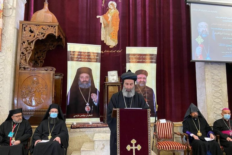 The prayer service for the kidnapped bishops in St Ephrem's Syriac Orthodox Cathedral, Aleppo.