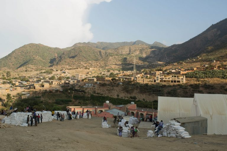 Archive image of a food distribution camp near Alitena, Tigray