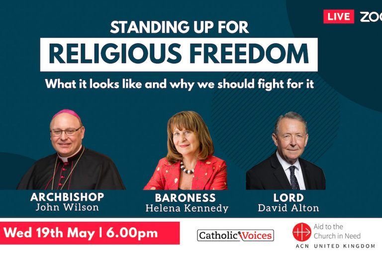 """With image of poster for """"Standing up for religious freedom"""" webinar (© Catholic Voices)"""