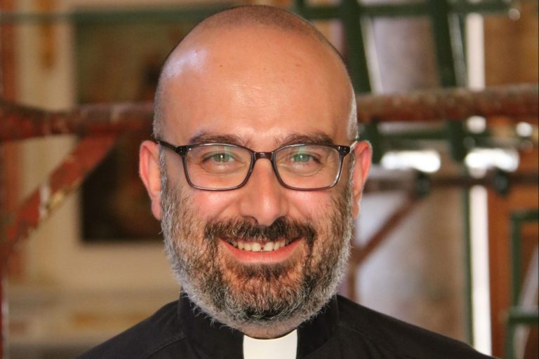 With picture of Father Jad Chlouk (Image © Aid to the Church in Need)
