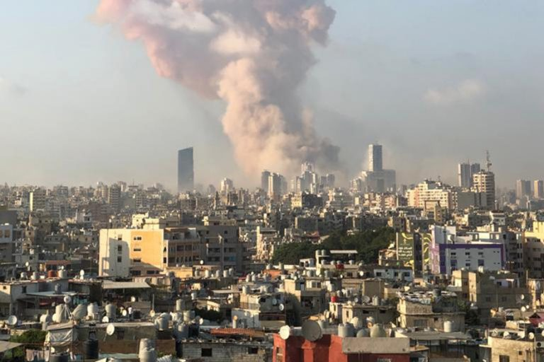 With image of Beirut explosion (Credit: Father Samer Nassif)