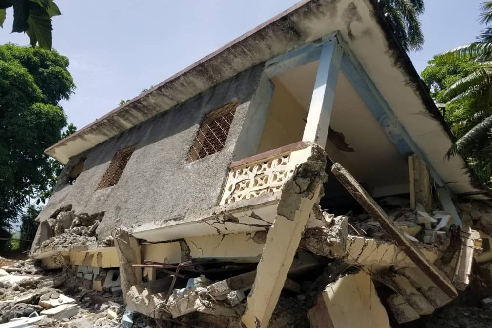 With image of damage caused by the earthquake in Jeremie Diocese (Image © ACN)