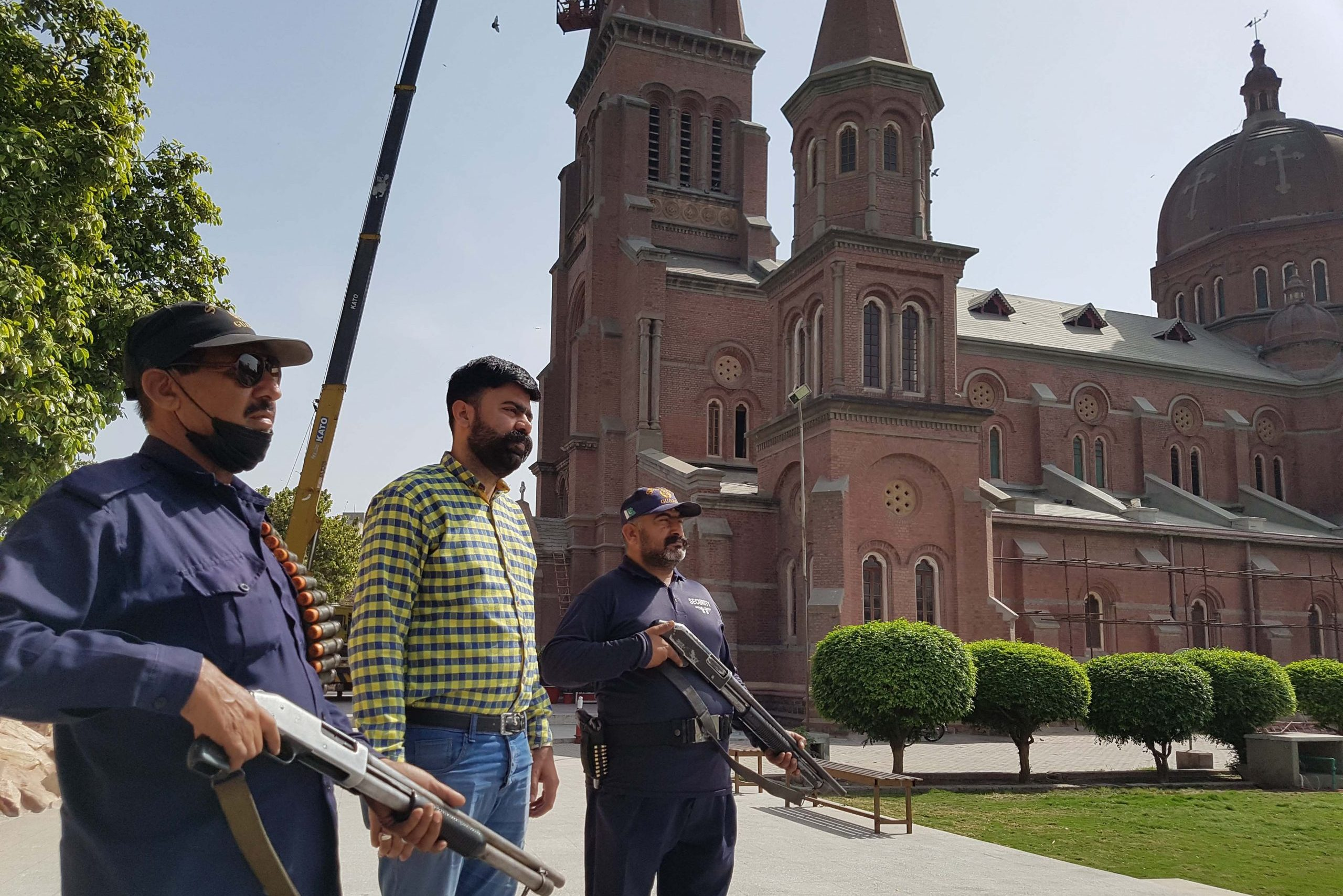 Security guards at Sacred Heart Cathedral, Lahore.